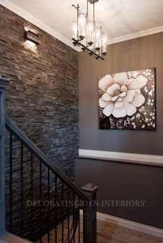 To Be Different: 20 Unforgettable Accent Walls Stone wall for bedroom --- LOVE THIS and the dark wall!Stone wall for bedroom --- LOVE THIS and the dark wall! Style At Home, Sweet Home, Interior And Exterior, Interior Design, Interior Stairs, Kitchen Interior, Decoration Inspiration, Decor Ideas, Decorating Ideas