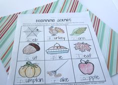 Beginning Sounds Thanksgiving 1st grade worksheet Number Words Worksheets, First Grade Math Worksheets, Literacy Worksheets, First Grade Activities, Free Printable Worksheets, 1st Grade Math, Grade 1, Printables, Teacher Games