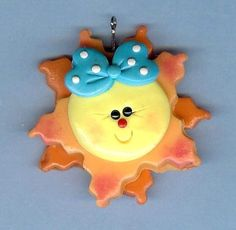 Polymer Clay Bow Centers,Chunky Pendant,Charms,Smiling Bow Sunshine