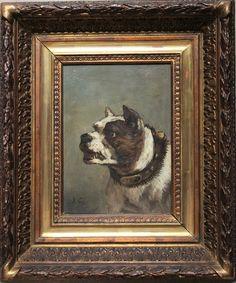 Portrait du chien « Turc »Huile sur panneau    Signée du monogramme en bas à gauche22 x 15,5 cmJules Chardigny était un artiste très spécialisé dans les portraits de chiens, desquels il réussissait à restituer des sentiments presque humains. Il est en quelque sorte le continuateur de l'oeuvre de Louis Jadin (1805-1882), qui était lui aussi spécialisé dans les chiens, mais dans un genre plus mondain et aristocratique, et moins intimiste que Chardigny.