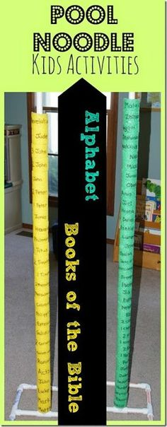 Pool Noodle Kids Activity - Help kids learn the alphabet or Books of the Bible with this fun, hands on idea using pool noodles! Preschool, Kindergarten, 1st grade, 2nd grade, 3rd grade