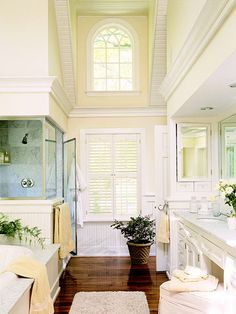 Even a small amount of beaded board can have big impact. Narrow-plank beaded board is used on the lower portion of these walls. Wide-plank beaded board on the ceiling makes the space feel more open and airy./