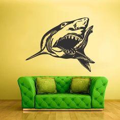 Wall Vinyl Sticker Decals Decor Fish Shark Predator Ocean Sea Horror (z1773)