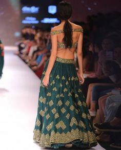 Teal Green Lengha Set with Mirror Work