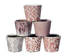 Set de 6 maceteros de cerámica - rosa y blanco