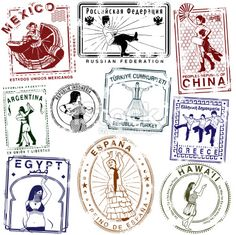 Retro Dance passport Stamps Royalty Free Stock Vector Art Illustration
