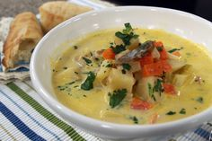 Smoked trout chowder | Cityline Seafood Pot Pie, Seafood Broil, Seafood Boil Party, Seafood Platter, Seafood Appetizers, Seafood Salad, Seafood Dinner, Seafood Recipes, Soup Recipes