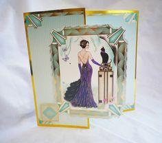 Art Deco Greeting Card Birthday Card Elegant Lady by pinkfountain