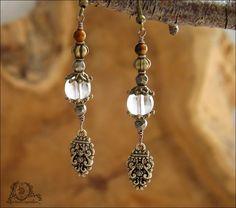 Boucles Pyrites facettées, Oeil de tigre, Cristal de roche, pendentifs ethniques boho: ᘛ Murmures arides ᘚ : Boucles d'oreille par atelier-bijoux-legendaires