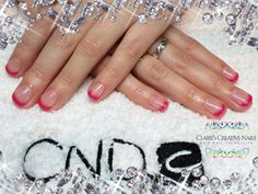 CND Shellac bright pink French Manicure in Tutti Frutti and Grapefruit Sparkle. Designed by: Claire's Creative Nails, Northampton. Call or text: 07752 397245 to book your appointment.