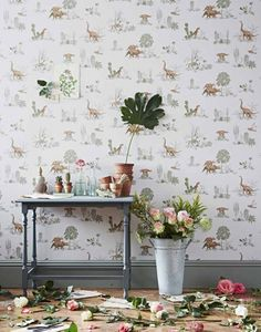 Magnetic Wallpaper designed by Sian Zeng available from Nubie - Dino Pink Green Wallpaper