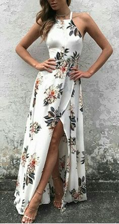 ed7c0a4e453c Sleeveless Side Split Back Lace up Random Floral Print Maxi Dress -Make  heads turn in this maxi dress. It is adorned with sleeveless, back lace-up,  ...