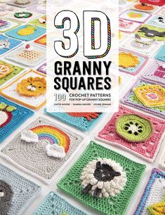 Granny Squares: 100 Crochet Patterns for Pop-up Granny Squares - These eye-catching granny square designs include flowers, animals, food and drink, and motifs! ♥ square Granny Squares: 100 Crochet Patterns for Pop-up Granny Squares - crochet envy Motifs Granny Square, Granny Square Pattern Free, Granny Square Projects, Granny Square Crochet Pattern, Crochet Square Blanket, Crochet Quilt Pattern, Flower Granny Square, Free Crochet Square, Crochet Flower Squares