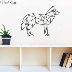 Free Shipping - Geometric Animals Wolf Wall Decal Vinyl Sticker Home Decor - Wolf Wall Art Mural Kids Room Decal - Size 58x73 cm