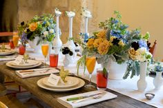 Peach and Blue Rustic Tabletop Brunch Wedding