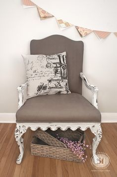 General Finishes Chalk Style Fabric Painted Chair-1