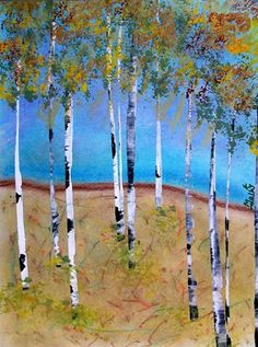Fall Birch Trees, pastel & tempera. Oh how I love Fall!