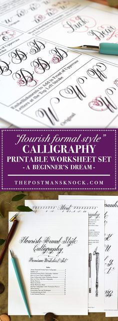 The New Flourish Formal Calligraphy Worksheet Set is Now Available! – The Postman's Knock - The New Flourish Formal Calligraphy Worksheet Set is Now Available! – The Postman's Knock Flourish Formal Style Calligraphy Worksheet Flourish Calligraphy, Copperplate Calligraphy, Calligraphy Practice, How To Write Calligraphy, Calligraphy Handwriting, Penmanship, Calligraphy For Beginners Worksheets, Calligraphy Tutorial Beginners, Hand Lettering For Beginners
