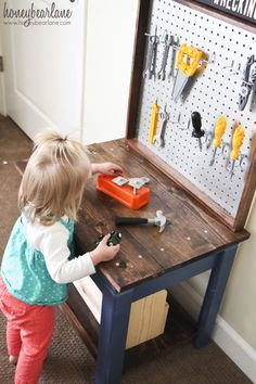 Kids tool work bench. Boy or girl it doesn't matter. I'm a gal that owns quite a few tools, and I use them. It amazes how many times I'm asked if I actually know how to use my tools or if they're just for fixing my shoes/making jewelery.