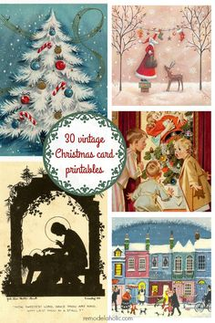 I love vintage Christmas cards! This is a selection of 30 of the best vintage and mid-century Christmas images, plus links to more, to print and decorate for the holidays.
