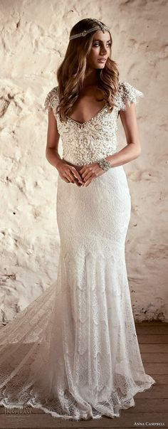 anna campbell 2018 bridal butterfly sleeves scoop neckline heavily beaded embellished bodice romantic elegant fit and flare wedding dress open v back short train (6) lv -- Anna Campbell 2018 Wedding Dresses