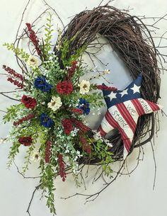 Americana Wreath Patriotic Wreath 4th Of by CrookedTreeCreation