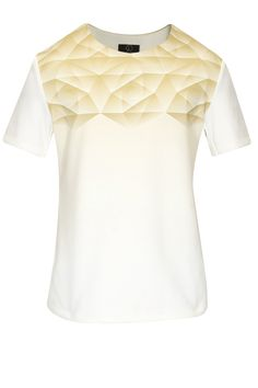 White and beige shattered glass printed tee by Kanika Goyal  Shop now:  http://www.perniaspopupshop.com/designers/kanika-goyal  #shopnow #perniaspopupshop #kanikagoyal