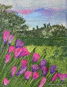 Thread Sketching in Action No 60 - Little landscape with mauve flowers - Deborah Wirsu Textile Artist - free machine stitching over a fabric collage base. To stay in touch with all my Studio News, subscribe and receive your free copy of Ten Top Tips for Successful Creative Thread Sketching. https://www.deborahwirsu.com/mailing-list/