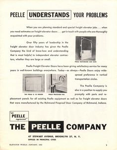 #TBT to this Peelle advertisement in our first issue in January 1953! #Peelle #elevatordoors #freight #lifts