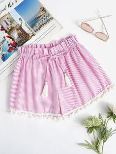 e7a4b25874a1  AdoreWe  ROMWE ROMWE Vertical Striped Drawstring Pompom Shorts -  AdoreWe.com Pom Pom