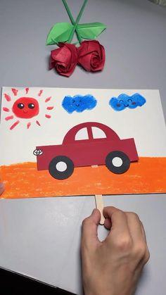 Diy Crafts For Kids Easy, Halloween Crafts For Kids, Paper Crafts For Kids, Craft Activities For Kids, Toddler Crafts, Preschool Crafts, Fun Crafts, Diy Paper, Paper Car