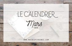 Calendrier du mois de Mars 2018 à imprimer - Rue des pivoines