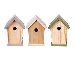Set de 3 casitas para pájaros en madera Matching