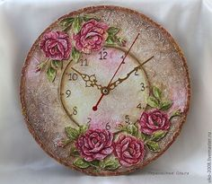 You can cut out a round clock with a box cutter CAREFULLY and decopauge a clock face on it then add those clock parts sold cheap at many places. Clock Painting, Clock Art, Sculpture Painting, Diy Clock, Painting On Wood, Shabby Chic Wall Clock, Shabby Chic Art, Vintage Diy, Decoration