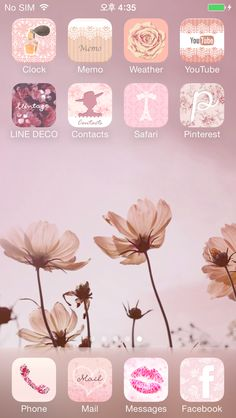 [LINE DECO] Vintage Cosmos    ★  In this screen  ★ Deco Pack : Laura's Garden + Lace princess Wallpaper : Vintage Cosmos