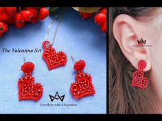 The Valentina Set ❤️ How To Make Heart Shaped Stud Earrings And Pendant - YouTube Heart Shapes, Crochet Earrings, Stud Earrings, Jewellery, Embroidery, Beads, Pendant, How To Make, Handmade Bracelets