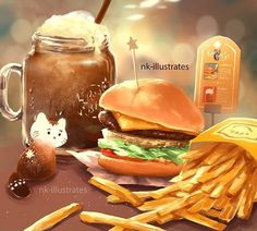 Cat and Food Cute Food Art, Cute Art, Cream Cat, Food Painting, Think Food, Dibujos Cute, Food Drawing, Jolie Photo, Kawaii Art