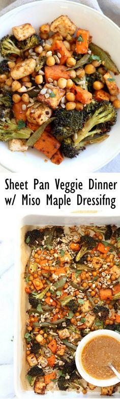 Sheet Pan Veggie Dinner with Broccoli, Sweet Potato, Tofu, Chickpeas, Sunflower seeds dressed with Miso Maple Dressing. #Vegan #Glutenfree #Nutfree #Recipe. Can be #soyfree with chickpea miso #VeganRicha
