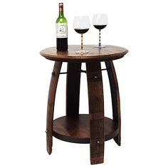 Whether or not the wine born from this wine barrel had an earthy flavor, this side table has an earthly quality. Made from recycled white oak wine barrels – they're usually discarded after a few years - the side table has a shelf and splendid iron accents Wine Barrel End Table, Wine Barrel Diy, Wine Table, Wine Barrels, Wine Cellar, Barrel Projects, Diy Projects, Barris, Wine Barrel Furniture