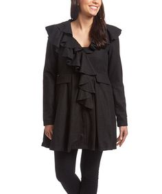Loving this Black Ruffle Wool-Blend Asymmetrical Coat on #zulily! #zulilyfinds Was $140/ now $20