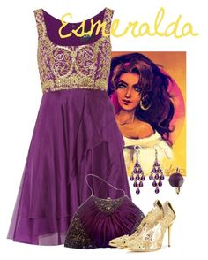 """Esmeralda"" by alyssa-eatinger ❤ liked on Polyvore featuring Disney, Notte by Marchesa, Badgley Mischka, Oscar de la Renta and Palm Beach Jewelry"