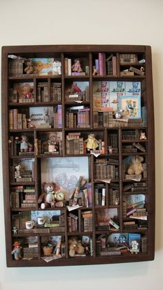"""Miniature mini libraries thematic """" collection of teddy bears """". €430.00, via Etsy."""