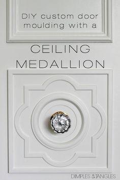 DIY CUSTOM DOOR MOULDING USING A CEILING MEDALLION  ||  Door trim  ||  Custom door molding