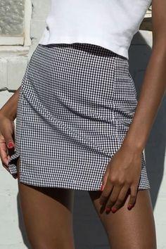Women Gray Gingham Slit Hem Sexy Mini Bodycon Skirt - S A Line Skirt Midi, Pencil Skirt Casual, White Midi Skirt, Pencil Skirt Outfits, Casual Skirt Outfits, Casual Summer Dresses, Date Outfits, Midi Skirts, Casual Skirts