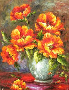 ORIGINAL Oil Painting Time for Joy 23 x 30 Palette Knife Colorful Bright Vase Flowers Arrangement Still life Orange Textured by Marchella. $329.00 USD, via Etsy.