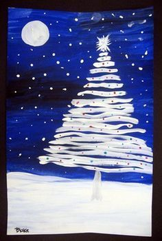 LOVE this winter art project Christmas Arts And Crafts, Christmas Activities, Xmas Crafts, Christmas Projects, Christmas Art For Kids, Christmas Tree Painting, Christmas Canvas, Noel Christmas, White Christmas