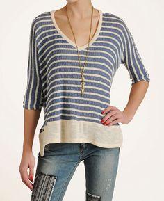 Splendid Womens Panama Stripe Pullover Sweater