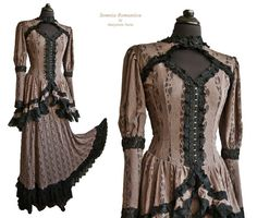 Dress Varna, victorian gown, steampunk dress, black, taupe, lace, Somnia Romantica by Marjolein Turin on Etsy, $349.00