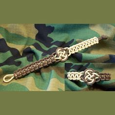 275 Tactical Cord Ankle Bracelet Cobra with Coin Knot Center, Knot and Loop Closer
