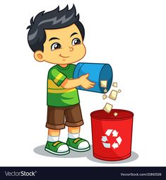 Boy throwing garbage in the trash can vector image on VectorStock